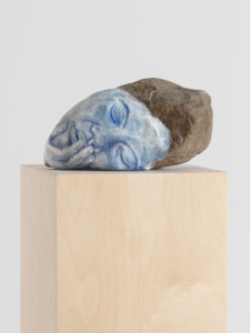 Untitled, 2014 (detail). Colored pencil, clay, paper, stone, wood.  62x11x11 in - 157.5x28x28 cm