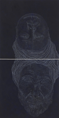 Worlds (2), 2014. White pencil, acrylic, paper on linen. 97x48 - 246.4x122 cm